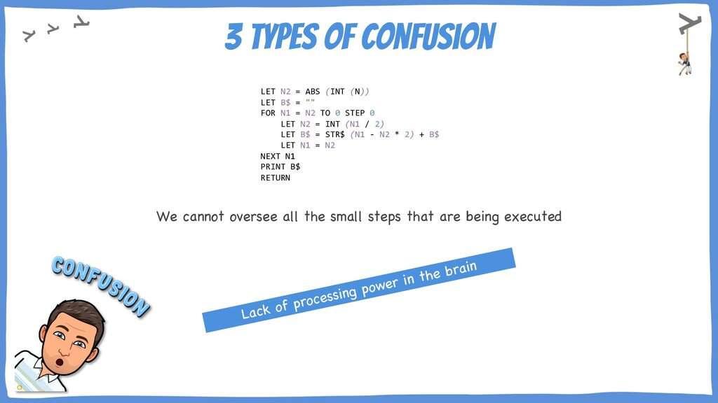 3 types of Confusion LET N2 = ABS (INT (N)) LET...