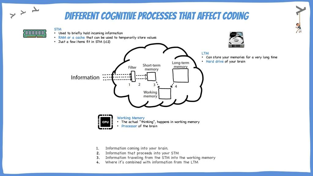 Different cognitive processes that affect codin...