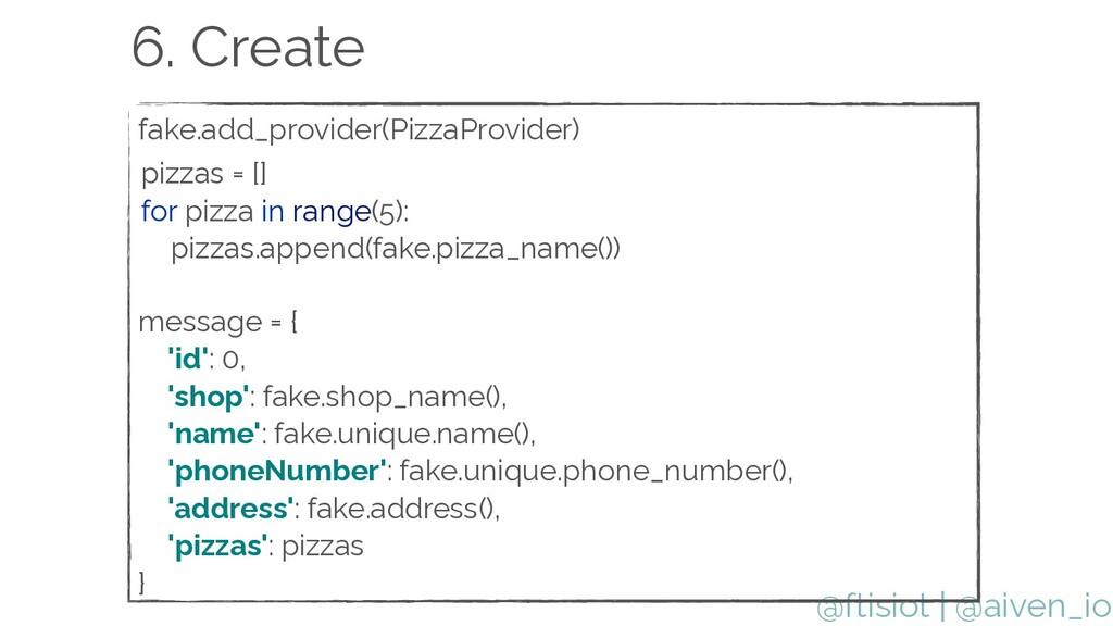 @ftisiot fake.add_provider(PizzaProvider)   6. ...