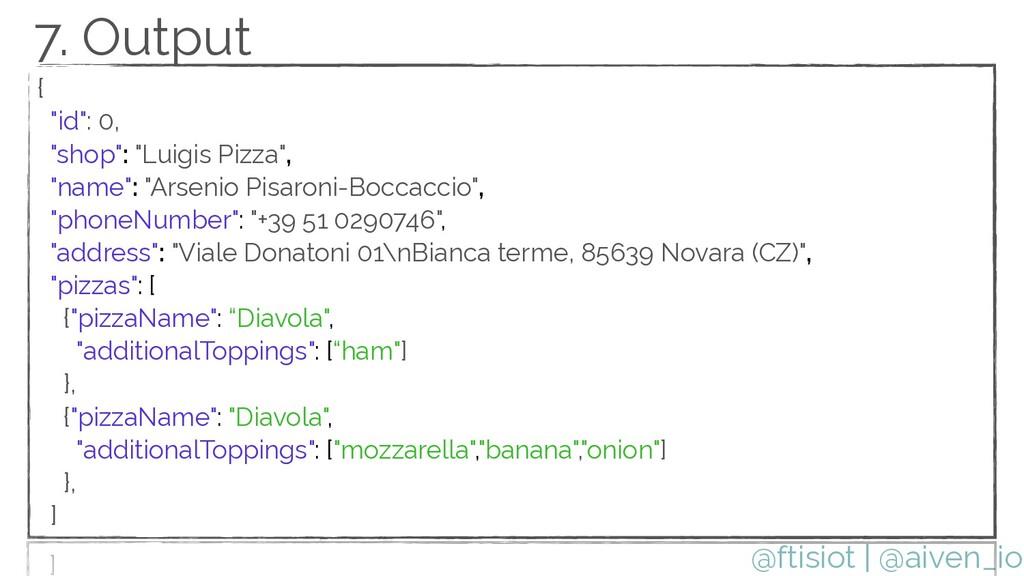 "@ftisiot {   ""id"": 0,   ""shop"": ""Luigis Pizza"",..."