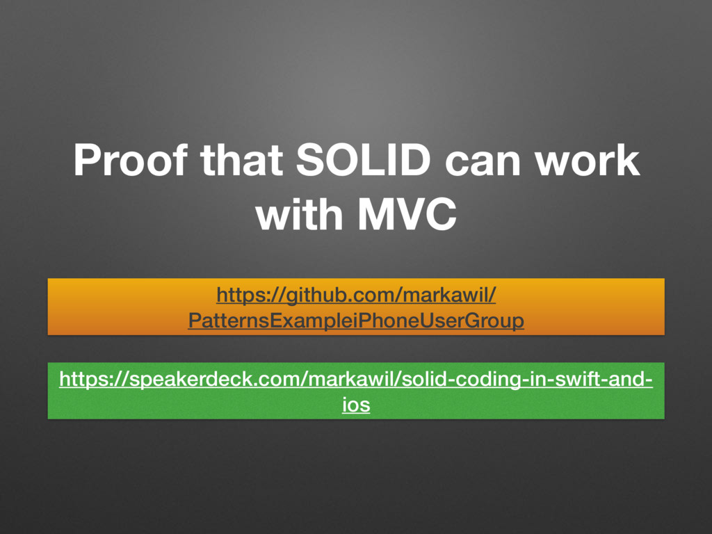 Proof that SOLID can work with MVC https://gith...