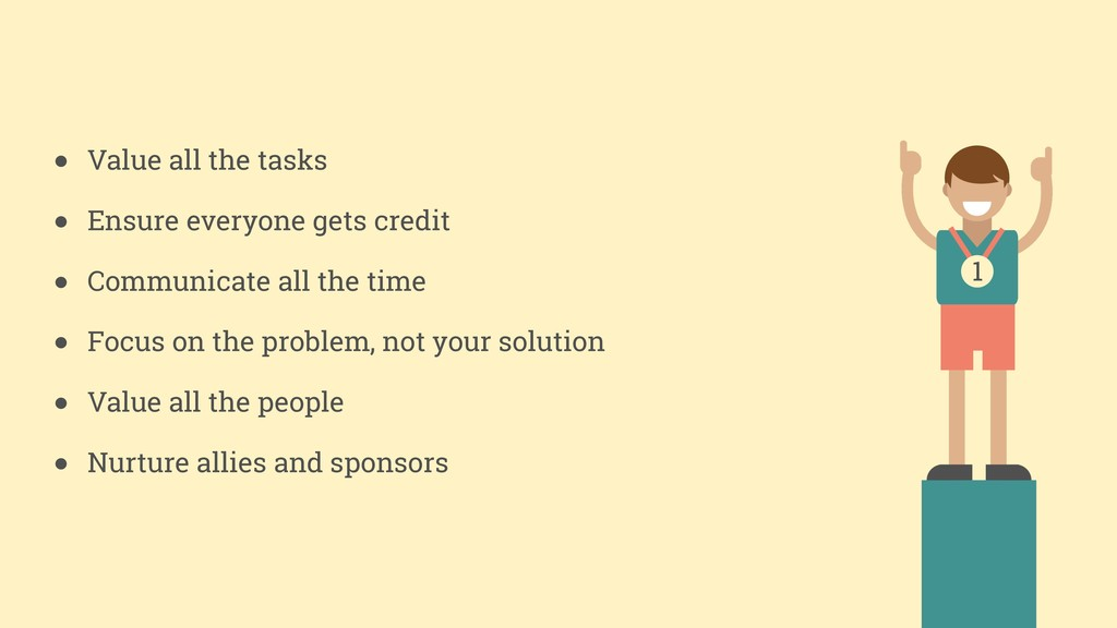 ● Value all the tasks ● Ensure everyone gets cr...