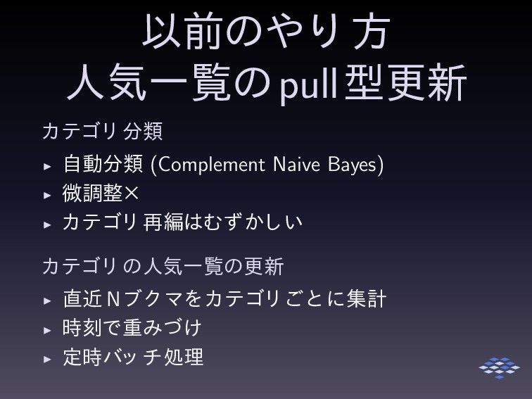 pull ◮ (Complement Naive Bayes) ◮ ◮ ◮ N ◮ ◮