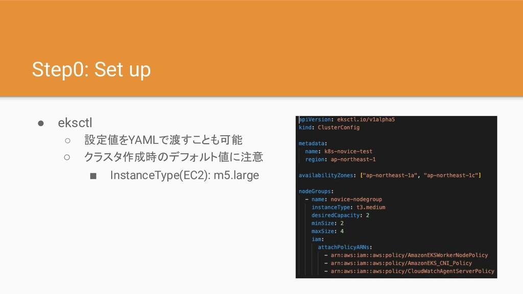 Step0: Set up ● eksctl ○ 設定値をYAMLで渡すことも可能 ○ クラス...