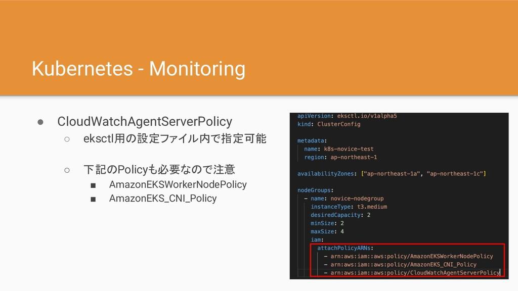 Kubernetes - Monitoring ● CloudWatchAgentServer...