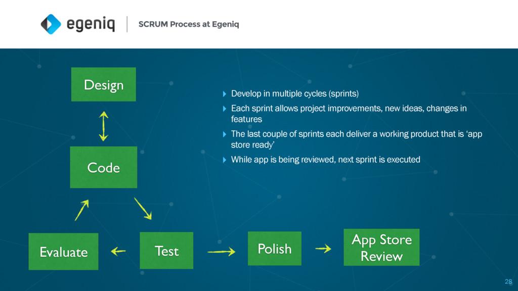 SCRUM Process at Egeniq 28 ‣ Develop in multipl...