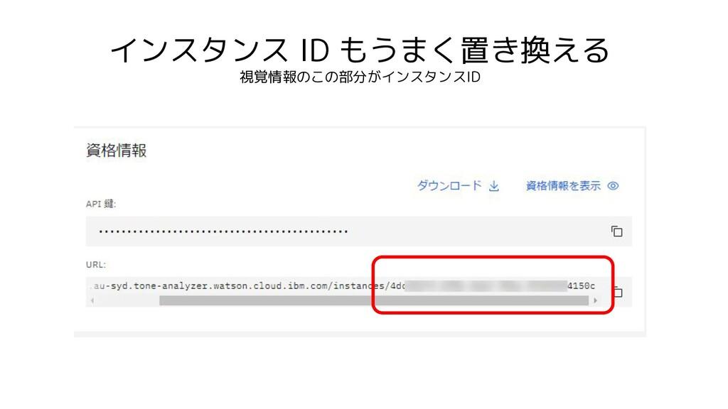 インスタンス ID もうまく置き換える 視覚情報のこの部分がインスタンスID