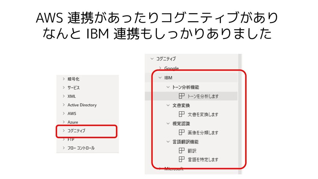 AWS 連携があったりコグニティブがあり なんと IBM 連携もしっかりありました
