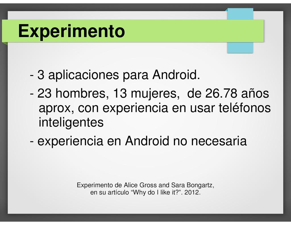 - 3 aplicaciones para Android. - 23 hombres, 13...