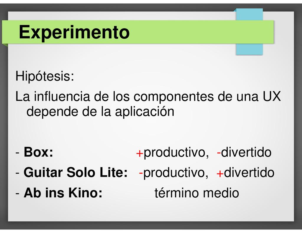 Hipótesis: La influencia de los componentes de ...