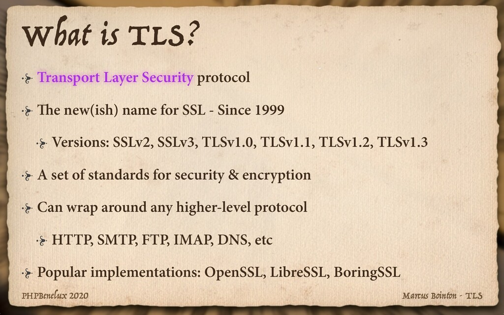 Marcus Bointon - TLS PHPBenelux 2020 What is TL...