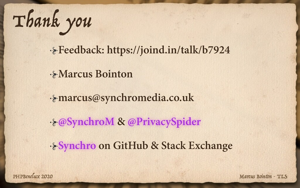 PHPBenelux 2020 Marcus Bointon - TLS Thank you ...