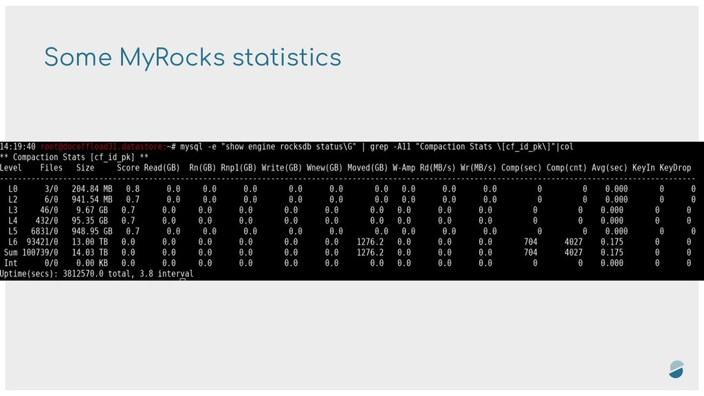 Some MyRocks statistics