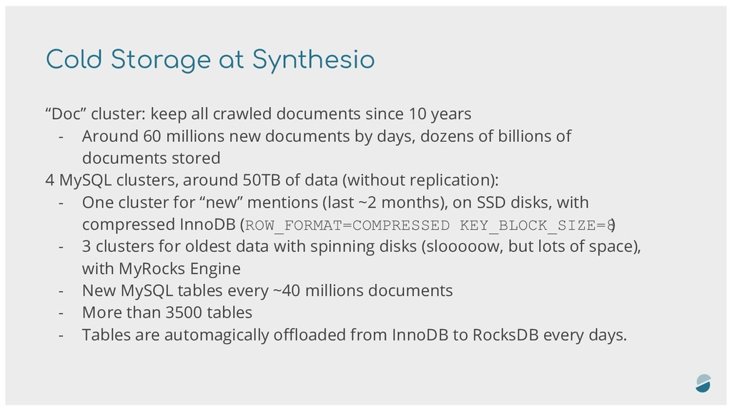 "Cold Storage at Synthesio ""Doc"" cluster: keep a..."