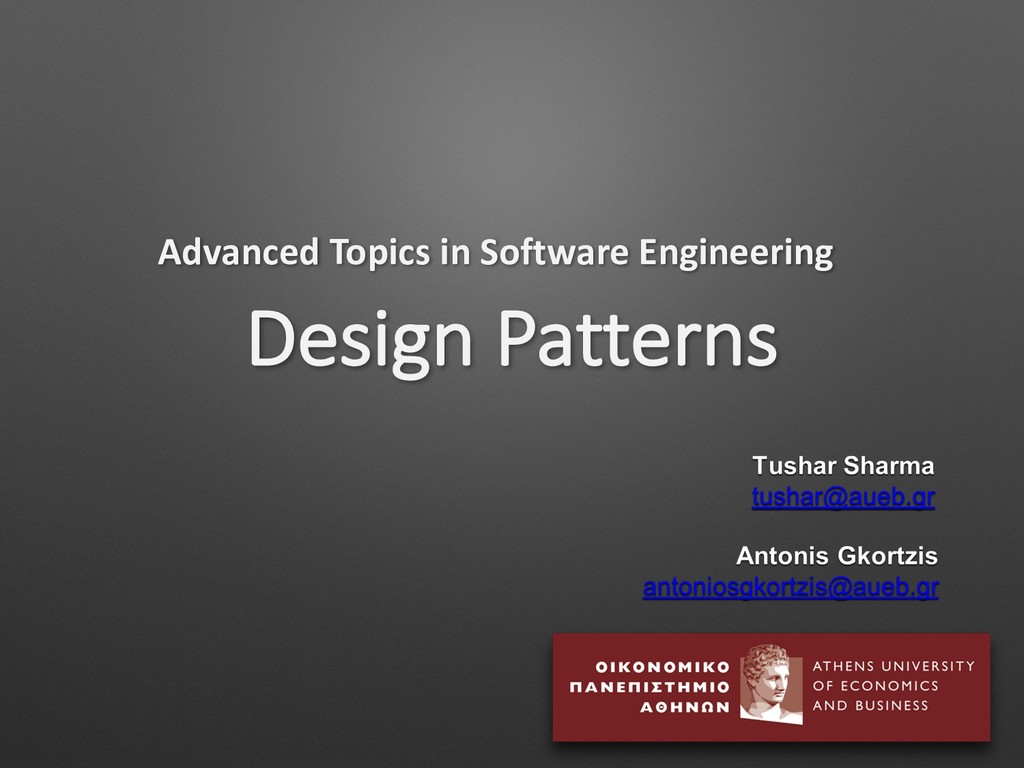 Design Patterns Advanced Topics in Software Eng...