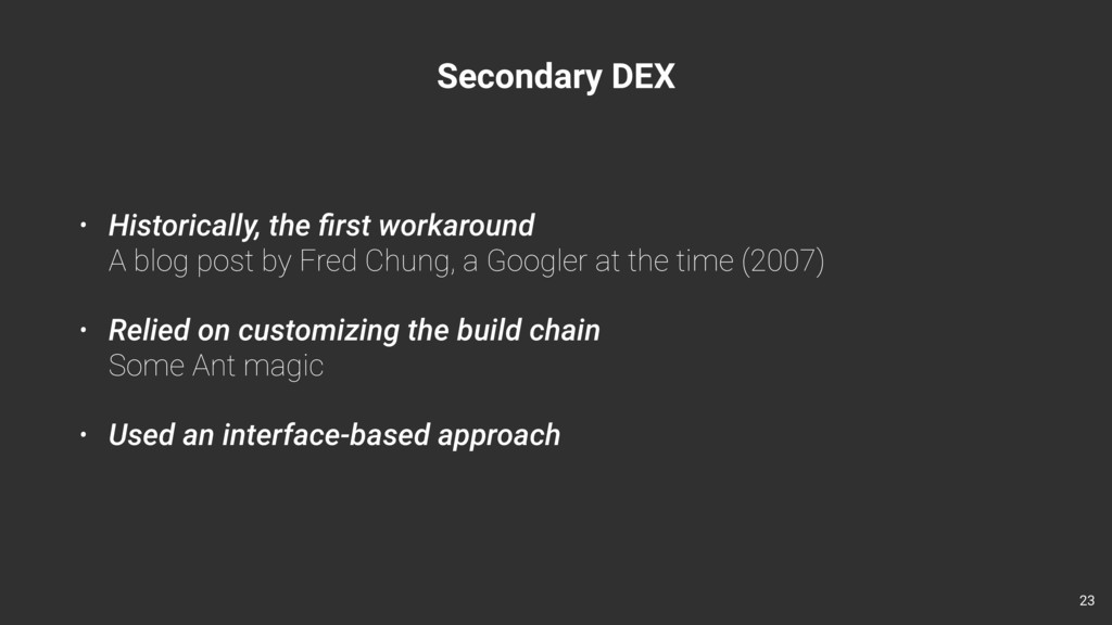 Secondary DEX • Historically, the first workarou...