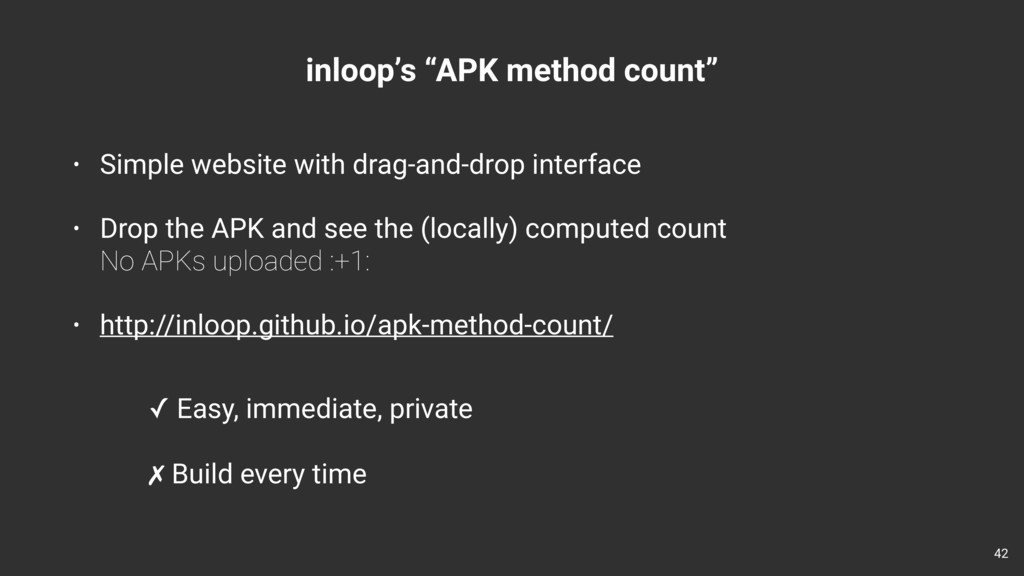 """inloop's """"APK method count"""" • Simple website wi..."""