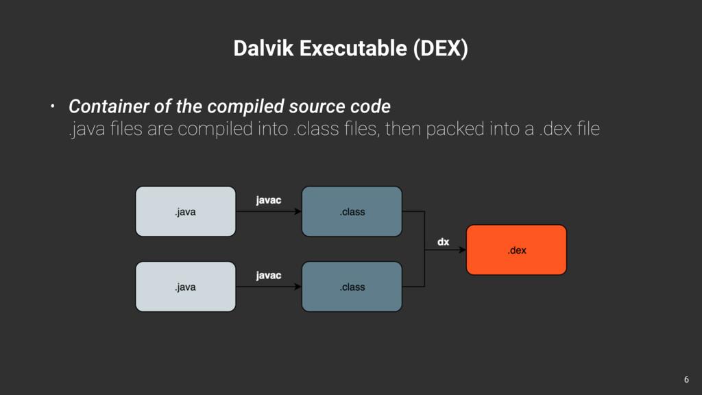 Dalvik Executable (DEX) • Container of the comp...