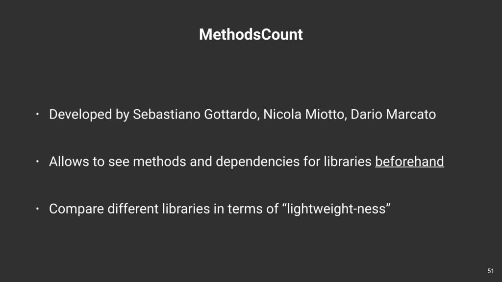 MethodsCount • Developed by Sebastiano Gottardo...