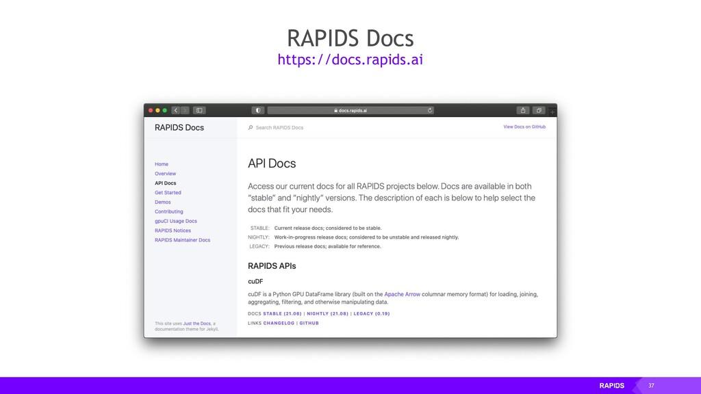 37 RAPIDS Docs https://docs.rapids.ai