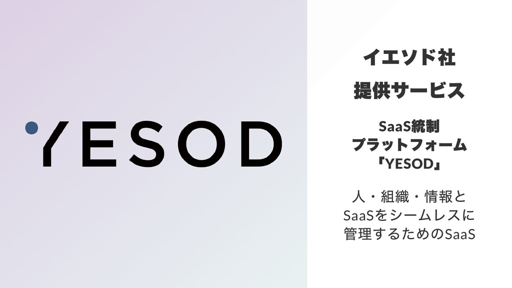 イエソド社 提供サービス SaaS 統制 プラットフォーム 「 YESOD 」 ⼈・組織・情報...
