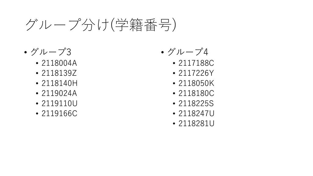 グループ分け(学籍番号) • グループ3 • 2118004A • 2118139Z • 21...