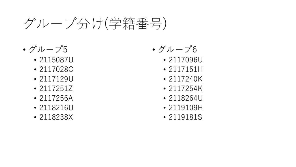 グループ分け(学籍番号) • グループ5 • 2115087U • 2117028C • 21...