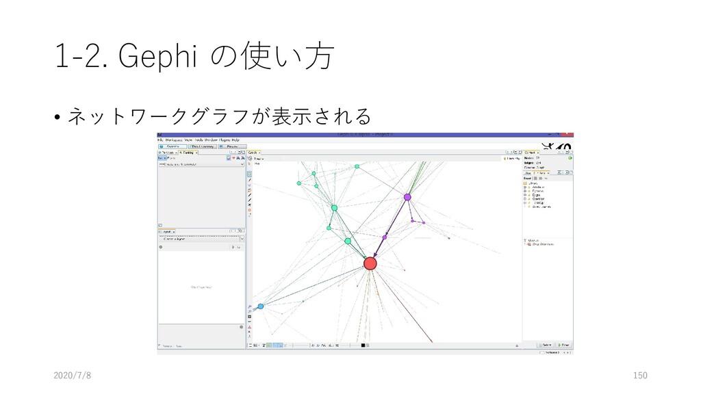 1-2. Gephi の使い方 • ネットワークグラフが表示される 2020/7/8 150