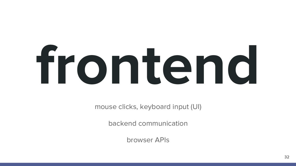 frontend mouse clicks, keyboard input (UI) back...