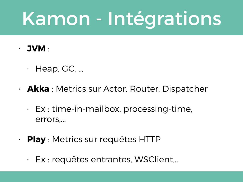 Kamon - Intégrations • JVM : • Heap, GC, ... • ...