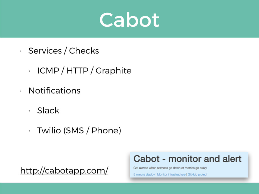 Cabot • Services / Checks • ICMP / HTTP / Graph...