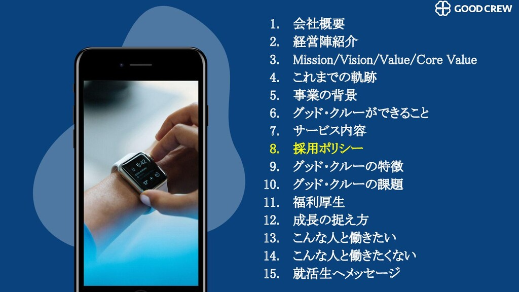 1. 会社概要 2. 経営陣紹介 3. Mission/Vision/Value/Core...