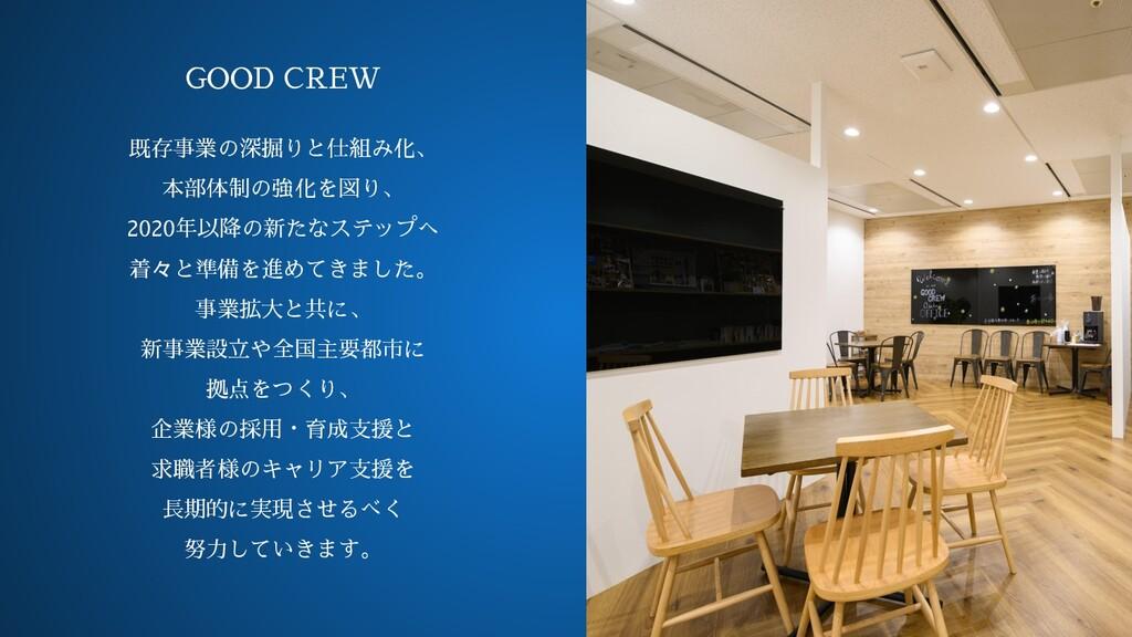 オフィス画像 GOOD CREW 既存事業の深掘りと仕組み化、 本部体制の強化を図り、 202...