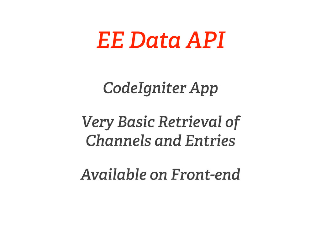EE Data API CodeIgniter App Very Basic Retrieva...