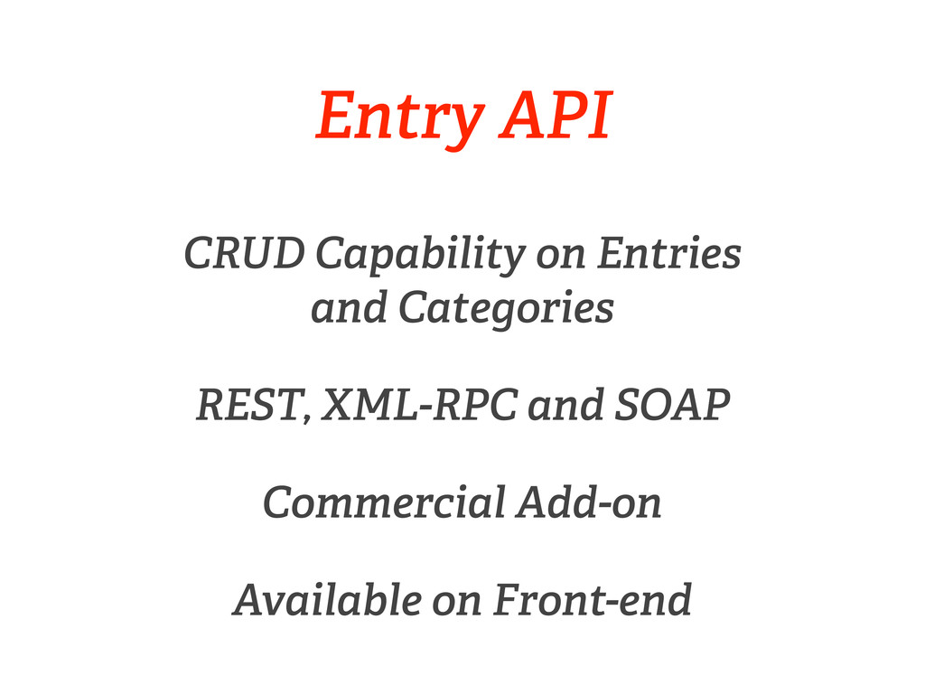 Entry API CRUD Capability on Entries and Catego...