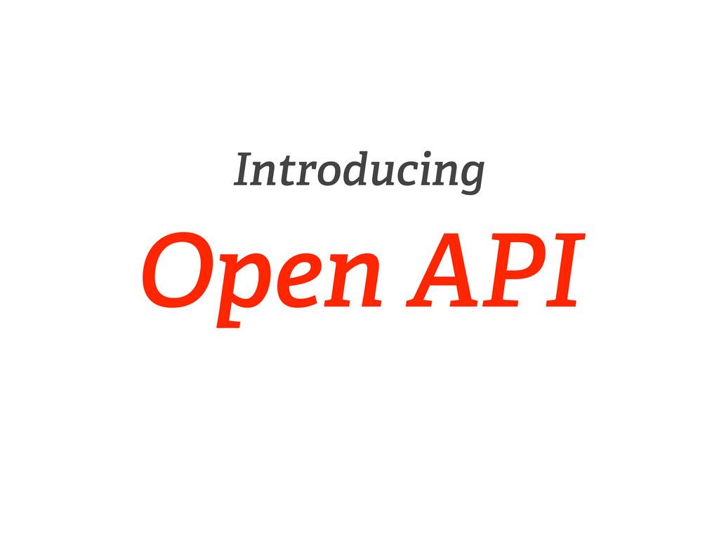 Introducing Open API