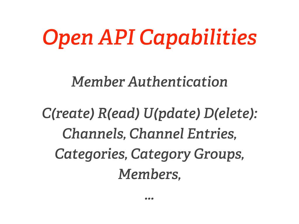 Open API Capabilities Member Authentication C(r...