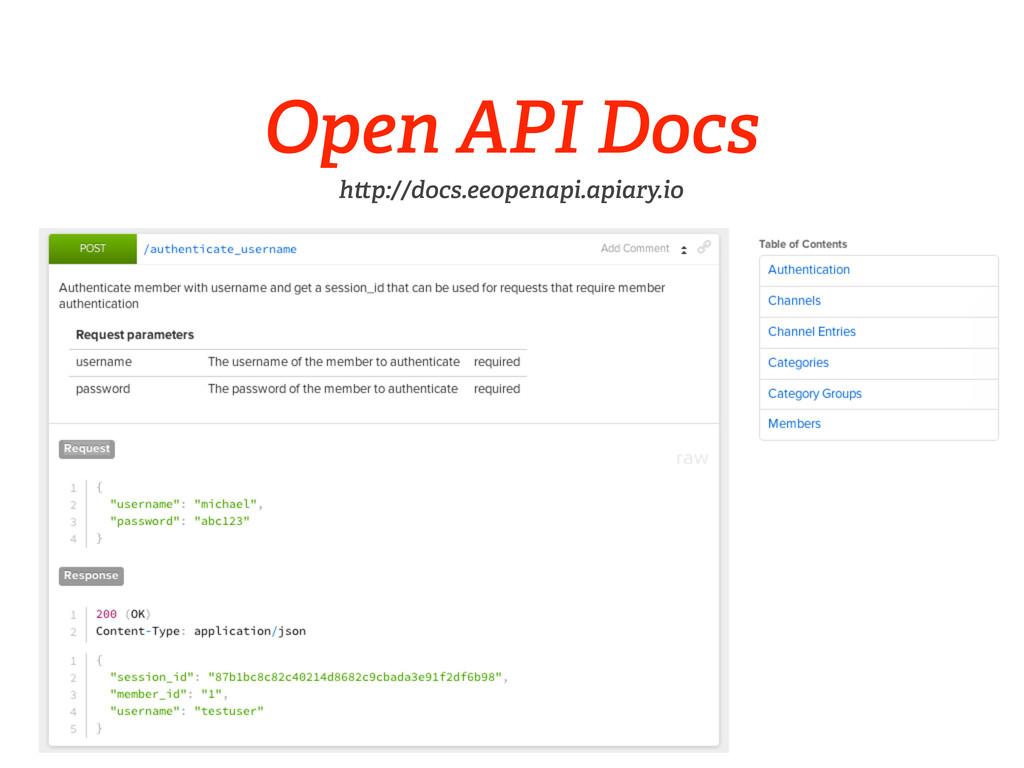 Open API Docs h p://docs.eeopenapi.apiary.io