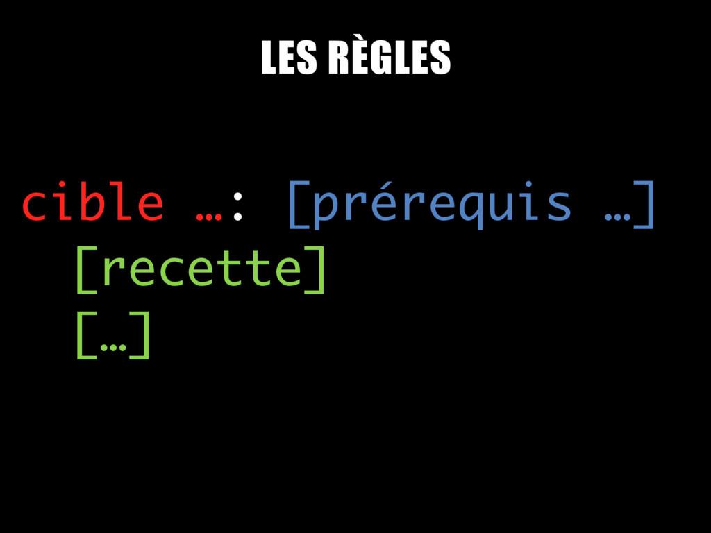 cible …: [prérequis …] [recette] […] LES RÈGLES