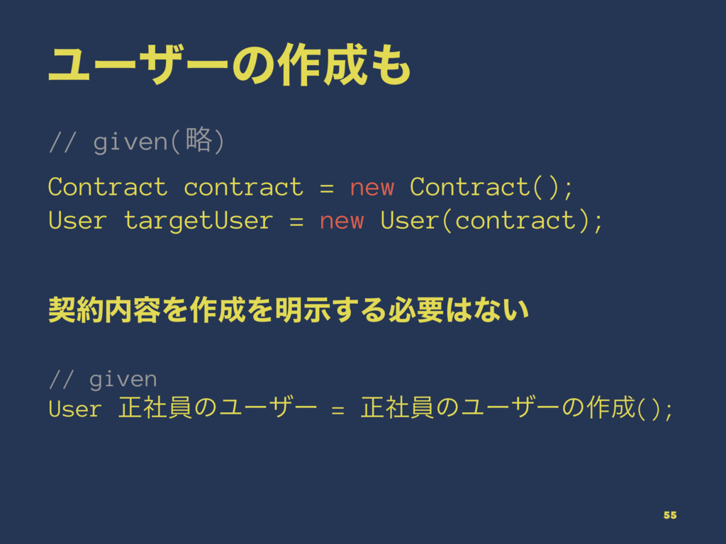 Ϣʔβʔͷ࡞ // given(ུ) Contract contract = new Co...