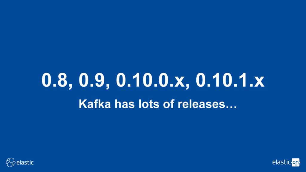 Kafka has lots of releases… 0.8, 0.9, 0.10.0.x,...