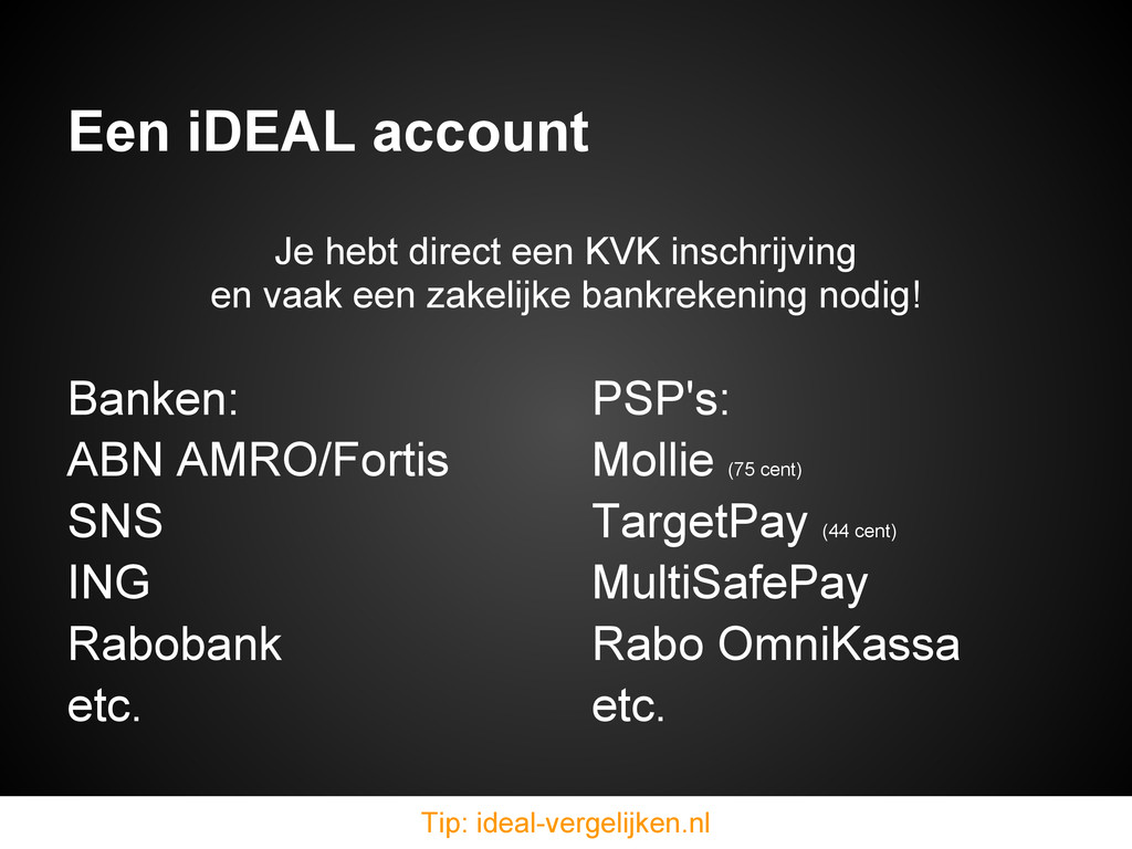 Een iDEAL account Banken: ABN AMRO/Fortis SNS I...