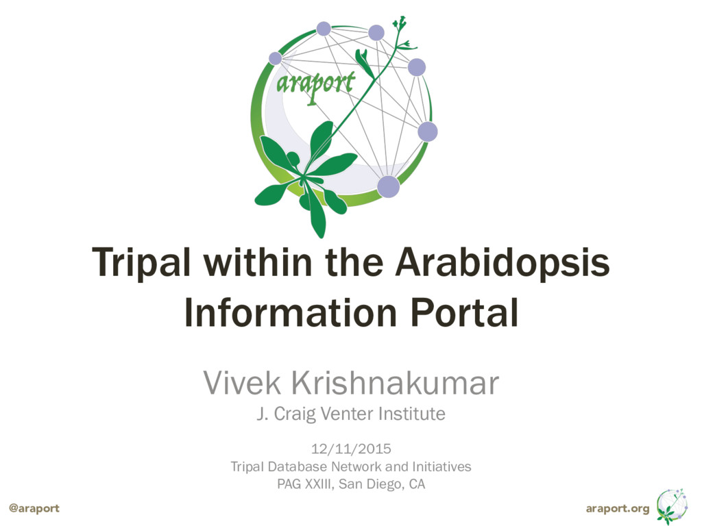 araport.org @araport Tripal within the Arabidop...