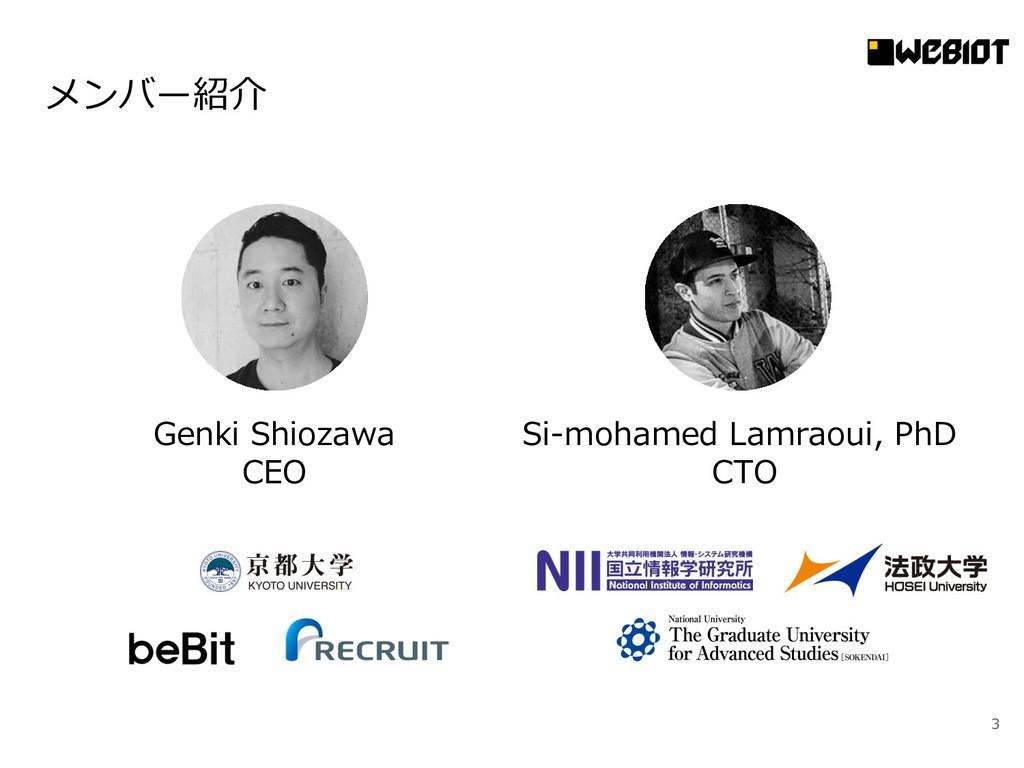 メンバー紹介 3 Genki Shiozawa CEO Si-mohamed Lamraoui...