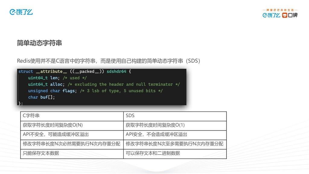数据结构 Redis使用并不是C语言中的字符串,而是使用自己构建的简单动态字符串(SDS) 简...