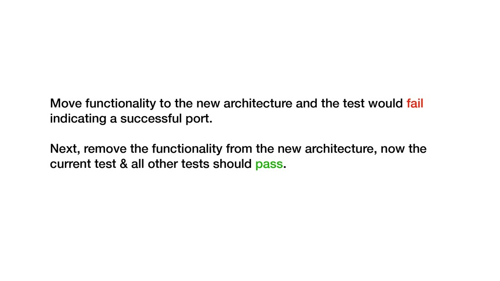 Move functionality to the new architecture and ...