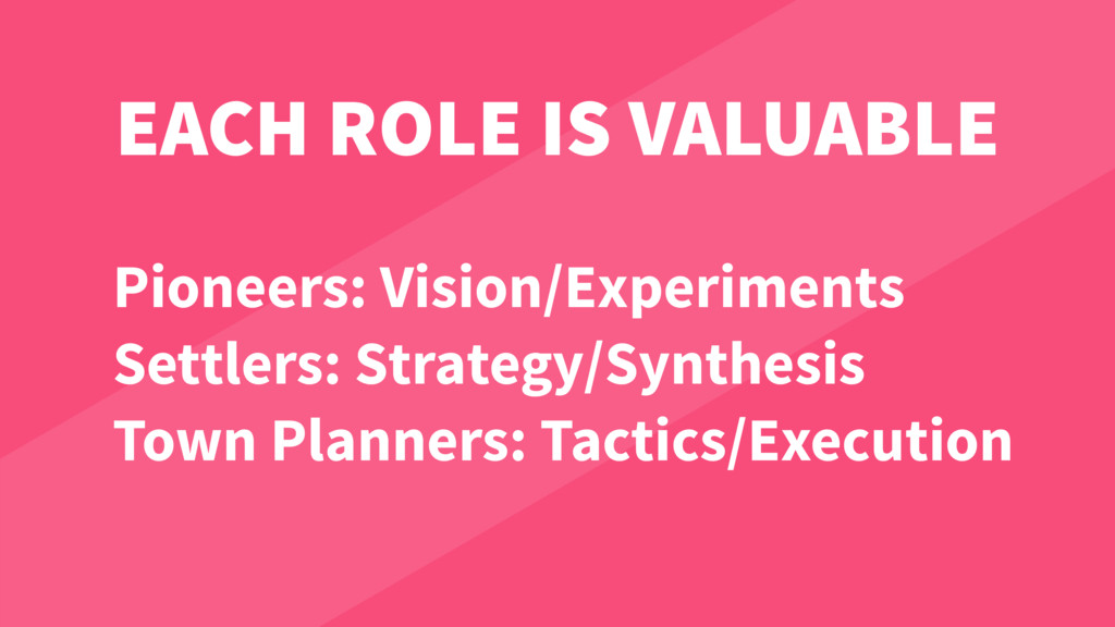 EACH ROLE IS VALUABLE Pioneers: Vision/Experime...