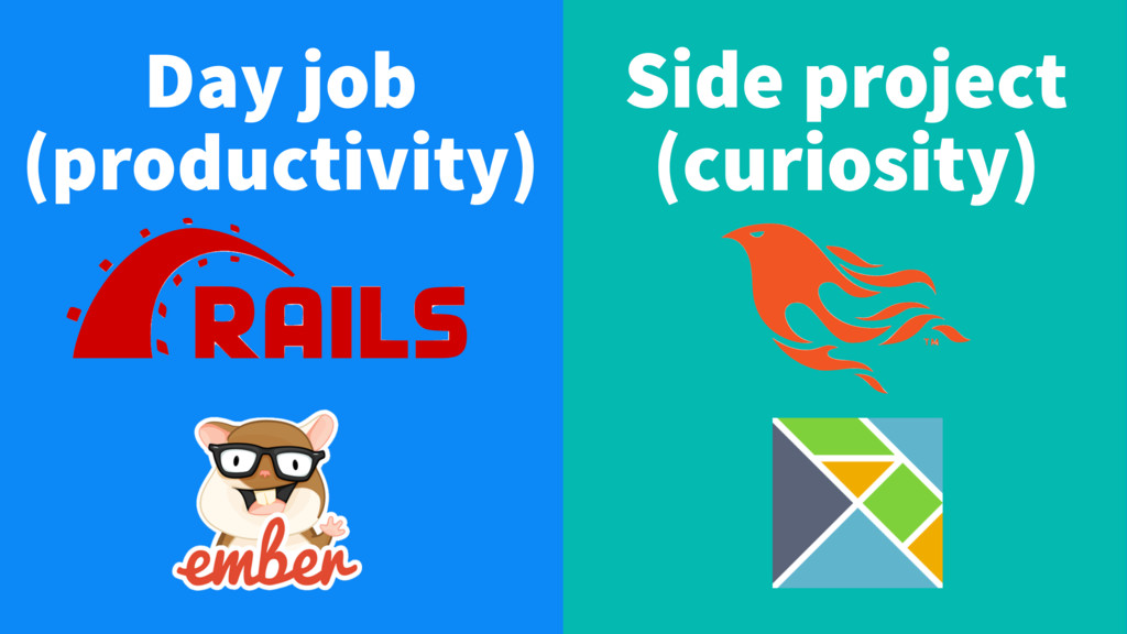 Day job (productivity) Side project (curiosity)