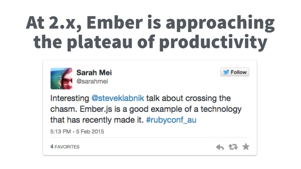 At 2.x, Ember is approaching the plateau of pro...