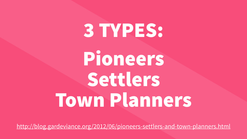 3 TYPES: Pioneers Settlers Town Planners http:/...